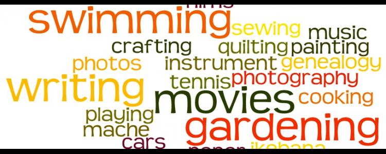 Banner mir Hobbys wie Schwimmen, Fotos, Filme, Musik, Schreiben, Kochen etc